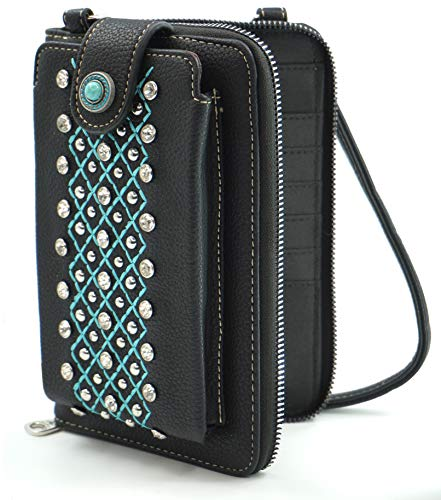 Montana West Crossbody Cell Phone Purse For Women Western Style Phone Bags Travel Size With Strap MWUSA-PHD-104BK