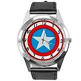 Taport Star Trek - Reloj de pulsera de cuarzo cuadrado, con correa de piel real + batería de repuest...