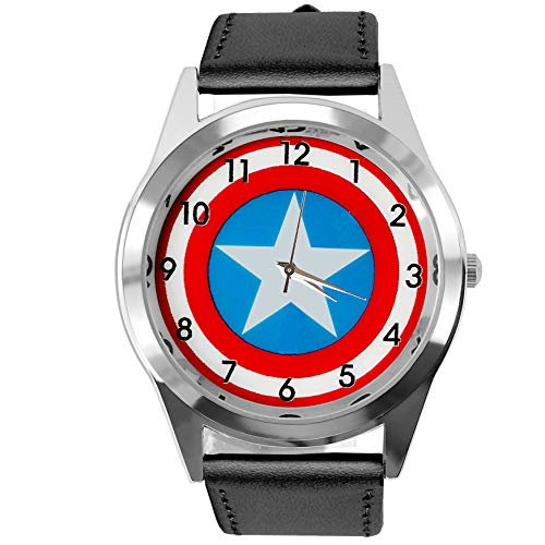 Orologio al quarzo Taport Capitan America Marvel nero in vera pelle Band