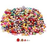 DIYASY 1000 Pcs Plastic Pearl Beads,Bulk Round Craft Beads Mixed Color and Size with Holes for Bracelets and Jewelry Making,4,5,6,8,10MM.