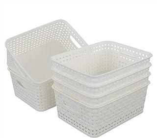 Bringer White Plastic Storage Baskets, Set of 6, 25.5 cm x 19.6 cm x 10.4 cm
