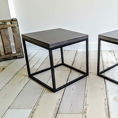 Massiver Beton Couchtisch mit Stahl Untergestell B&K Design Wohnzimmertisch/Beistelltisch/Sofatisch/Betonmöbel/Betontisch aus echtem Beton !