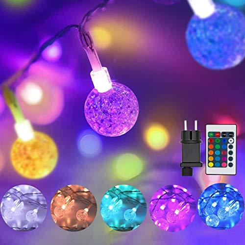 60 LED Lichterkette Außen Strom, Erweiterbar Bunt Globe Lichterkette Innen, 10M 16 Farben Kristall Kugeln Farbwechsel Lichterkettten, Deko für Hochzeit Kinderzimmer Mädchen Schlafzimmer Balkon