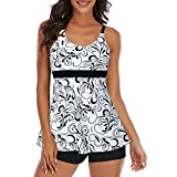 Century Star Women's Bathing Suits Tankini Swimsuits for Women Tummy Control Two Piece Swimming Suit Ladies Swimwear White Floral 10-12