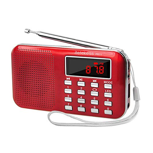 Retekess PR11 AM FM Radio Portable, Rechargeable Radio Digital Tuning, MP3 Music Player Speaker Support TF, AUX, USB Port(Red)