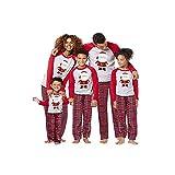 BaZhaHei-Navidad Mamá Papá Noel Tops Blusa Pantalones Pijamas Familiares Ropa de Dormir Trajes de Navidad Conjunto Traje de Servicio a Domicilio de Manga Larga Damas para Mujer niño
