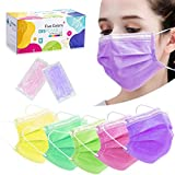 Multicolored Disposable Face Masks, 3 Layers Facial Safety Masks...