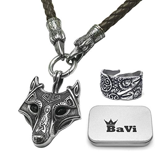 BaviPower Wolf Head Pendant with Brown Raven Head Braided Leather Necklace ♦ Stainless Steel ♦ Nordic Scandinavian Necklace ♦ Authentic Viking Jewelry for Men Women (20)