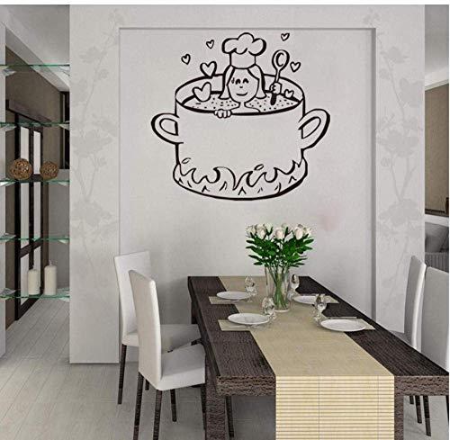 Wandaufkleber Und Wandbilder Cartoon Liebe Kochen Wandaufkleber Küche Esszimmer Chefkoch Kochtopf Pfanne Wandtattoo Restaurant Vinyl Wohnkultur 56 * 53Com