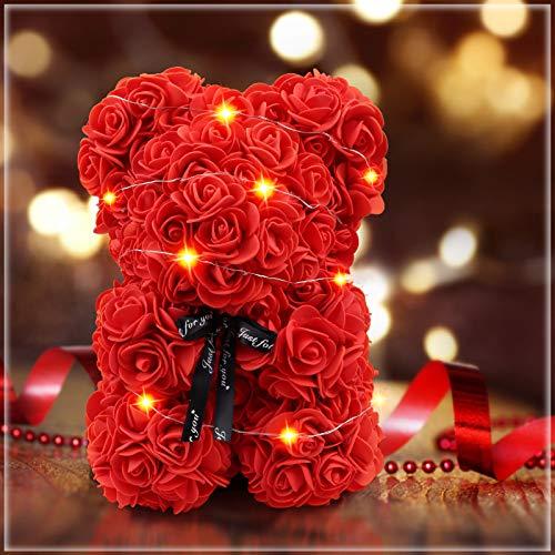 Yodeace Orso di Rose, 25cm Orsetto di Rose composto da rose artificiali, Rosse Idea Regalo Regali per Lei Fidanzata Compleanno Mamma Anniversario San Valentino