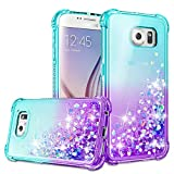 Galaxy S6 Case, Galaxy S6 Cases with HD Screen Protector for Girls Women, Gritup Cute Clear Gradient Glitter Liquid TPU Slim Phone Case for Samsung Galaxy S6 Teal/Purple
