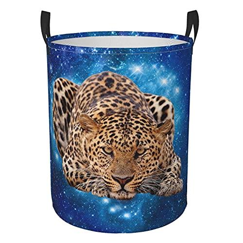YUANXIANG Leopardo circular protable cubo organizador redondo cesta para la colada con asas, ropa de dormitorio pequeña