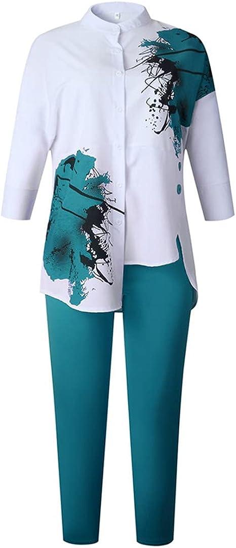 African Plus Size Clothes Women Shirt and Pants 2 Pieces Set Dashiki Print Long Trouser Suit Summer Autumn