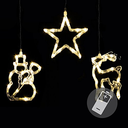 3er Set Fensterbilder 45 LED warm weiß mit Saugnapf Schneemann Rentier Stern Batterie Innen Fensterdeko Weihnachten Weihnachtsdeko Xmas 3 Motive