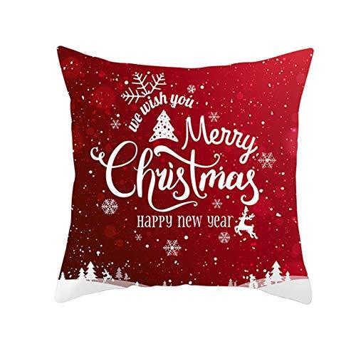 Fundas de Cojín Decorativos Navidad roja Cuadradas Terciopelo Suave Funda de Almohada Cubierta para Cojines Sofá Sala de Estar Dormitorio Cama Decor Throw Pillow Case Pillowcase+core,45x45cm T2899