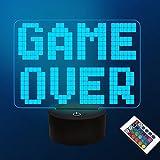 CooPark Pixel juego sobre lámpara de ilusión, gamepad luz nocturna 3D con control remoto 16 colores cambiantes decoración de sala de juegos Los mejores regalos de cumpleaños de Navidad para niños