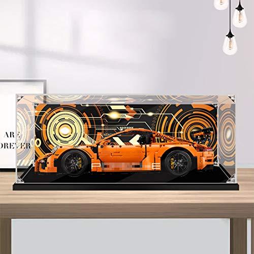 Leic Acryl Display Box Baustein Staubdichtes Gehäuse Show Box für Technik Porsche 911 GT3 RS Kompatibel mit Lego 42056