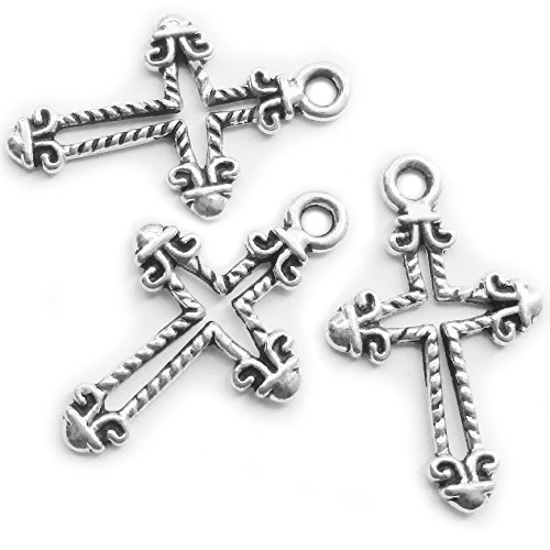 Silver Cross Charms for Jewelry Making Crosses Charms Beads DIY Findings for Bracelet Making 96 Pieces