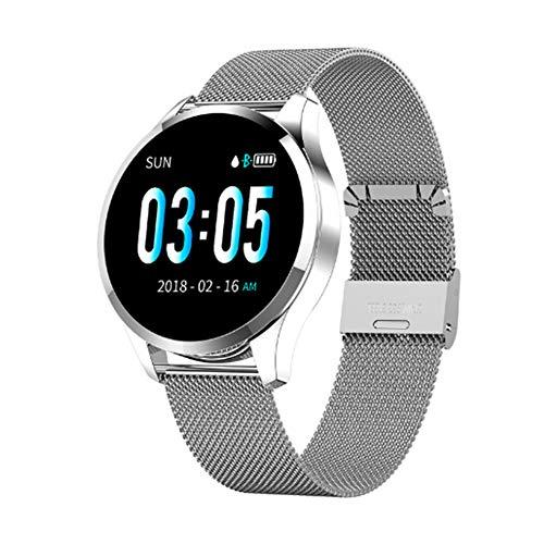 Extrbici, orologio fitness tracker con cardiofrequenzimetro, monitoraggio del sonno, schermo rotondo, braccialetto intelligente femminile, promemoria fisiologico, contapassi (argento)