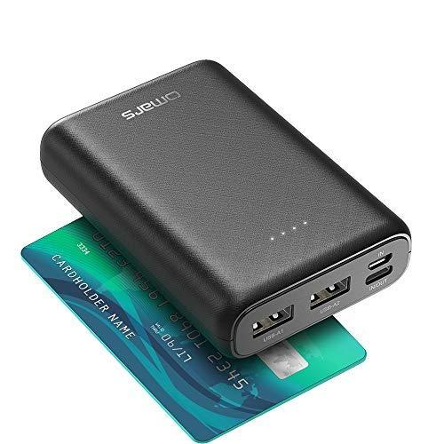 Omars Mini Powerbank, 10.000 mAh Externer Akku, kleines Aber stark, leichtes und tragbares Ladegerät, USB-C- und 2 USB-A-Ports, kompakter Akkusatz für iPhone, Huawei, Samsung und Typ-C-Gerät