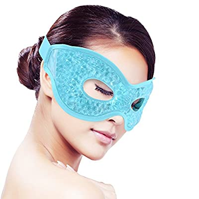 Cooling Ice Gel Eye Mask for Sleeping, Hot/Cold Reusable Gel Beads ice Pack with Soft Plush Backing,Hot Cold Therapy for Eye Pain,sleeping,Swelling,Migraines, Headaches,Stress Relief [Blue]