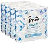 Marca Amazon - Presto! Papel higiénico de 3 capas ACOLCHADO- 36 (4x9) rollos (200 hojas x rollo)- Diseño: Flor
