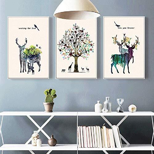 Kaper Go 3 unids/Set de Marco de Imagen de Oro Alces nórdicos Multicolor árbol decoración Pintura Mural Pintura Animal Mural 40 * 60 CM HD Micro-Spray Simple Moderno hogar Sala de Estar sofá Hotel c