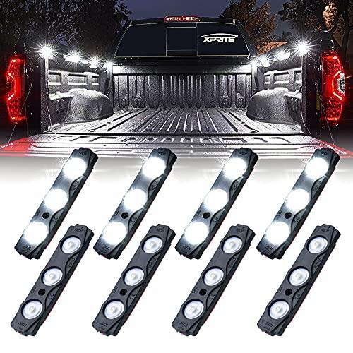Xprite White Truck Pickup Bed Light Kit, 24 Led Cargo Rock Lighting Kits w/Switch for Van Off-Road Under Car, Side Marker, Foot Wells, Rail Lights - 8 PCS