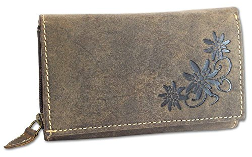 HAROLD'S Damen Geldbörse Leder Langbörse große Damenbörse Portemonnaie mit Edelweiß-Prägung antikbraun (5497)