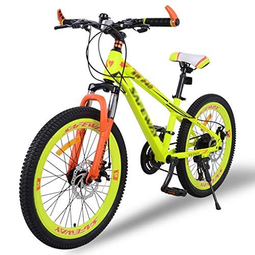 WJSW Kinderfahrräder Kinder Mountainbike Grund- und Mittelschule Rennrad Outdoor Junge Mädchen Fahrrad Doppelscheibenbremse Stoßdämpfer Fahrrad (Farbe: Gelb, Größe: 22 Zoll)