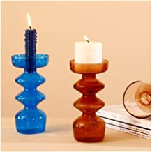 Candle Holders Taper Candle Holder Glass Candle Holder Crystal Candle Holders (Color : Blue)