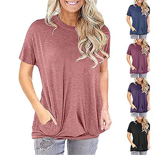 Camiseta Mujer Elegante Chic Moda Cuello Redondo Manga Corta Verano Color Sólido Clásico All-Match Suelto Cómodo Vacaciones Ocio Mujeres Tops Mujeres Camisas A-Brick Red XXL