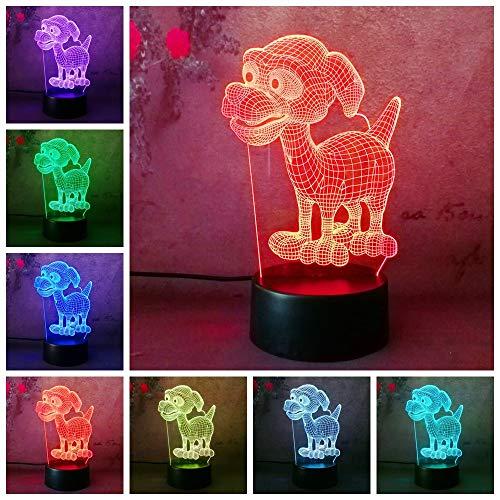 Lámpara LED 3D de Said, con diseño de perro perrito patrulla canina, luz nocturna para escritorio, dormitorio, dormitorio, decoración para el hogar, lámpara infantil, bombilla de regalo