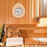 Nannday 【𝐒𝐞𝐦𝐚𝐧𝐚 𝐒𝐚𝐧𝐭𝐚】 Termohigrómetro de Madera, 2 en 1 en Forma de Gota Termohigrómetro de Madera Termómetro Higrómetro Sala de Vapor Accesorios para Sala de Sauna