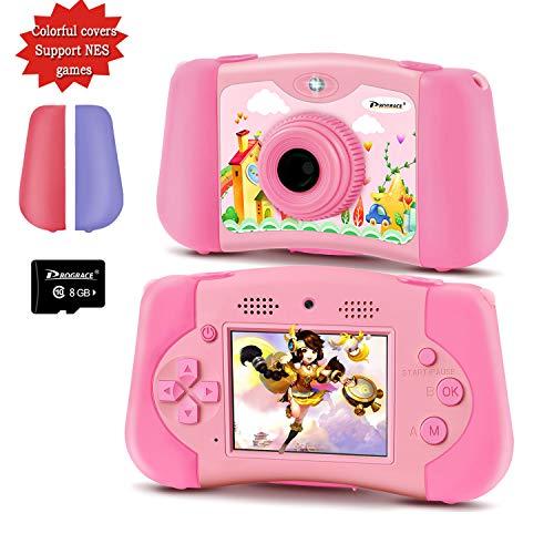 PROGRACE Kinderkamera Handheld-Konsolenspiel für 4-12 Jahre alte Mädchen Spielzeuggeschenke Kinder Kamera-Unterstützung Download 4000+ Spiele MP3-Player Selfie Kids Digitale Videokamera 12M