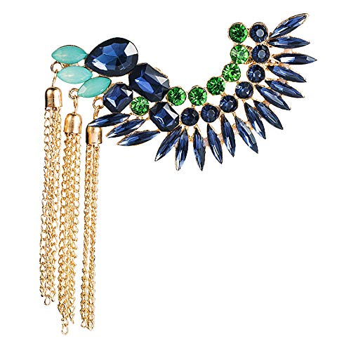 Gold Plated Crystal Leaf Climbers Crawler Jewelry Jacket Earrings Sparkly Zircon Pave Metal Right Ear Cuff Wrap Clip Stud Earring Climber Top Ear Clip for Women Girls 1 PC (Blue+ Tassel)