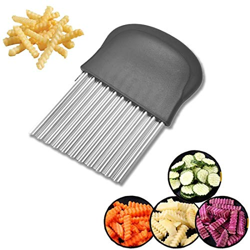 Stainless Steel French Fries Cutter,Manual slicerCrinkle Cut Potato Chipper Vegetable Wavy Blade French Knives and Kitchen Utensils Tool for Veggies,Salad,Onions,Carrots,Cucumbers 1Pcs