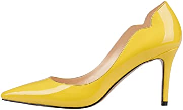 June in Love Women's Middle Heels Sexy Stiletto Shoes Pointy Toe Slip-On Office Pumps