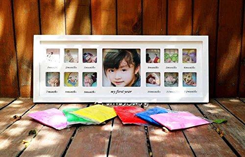 ZZZSYZXL handprints bébé et empreintes de tampons encreurs pour commémorer le bois massif cadeau créatif cadre photo bricolage , red