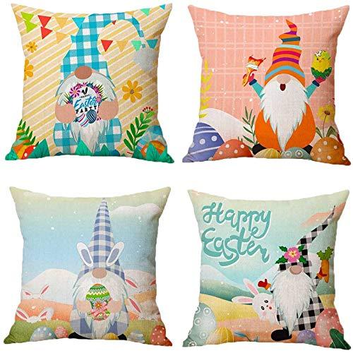 Moent 4 fundas de almohada de Pascua, cuadradas, de lino, 4 piezas, suave funda de cojín para sofá, decoración de festivales