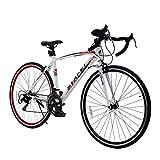 ロードバイク スポーツバイク 700C シマノ14段変速 2WAYブレーキシステム搭載 ドロップハンドル 超軽量高炭素鋼フレーム ライトのプレゼント付き 自転車 01WHRD ホワイト*レッド