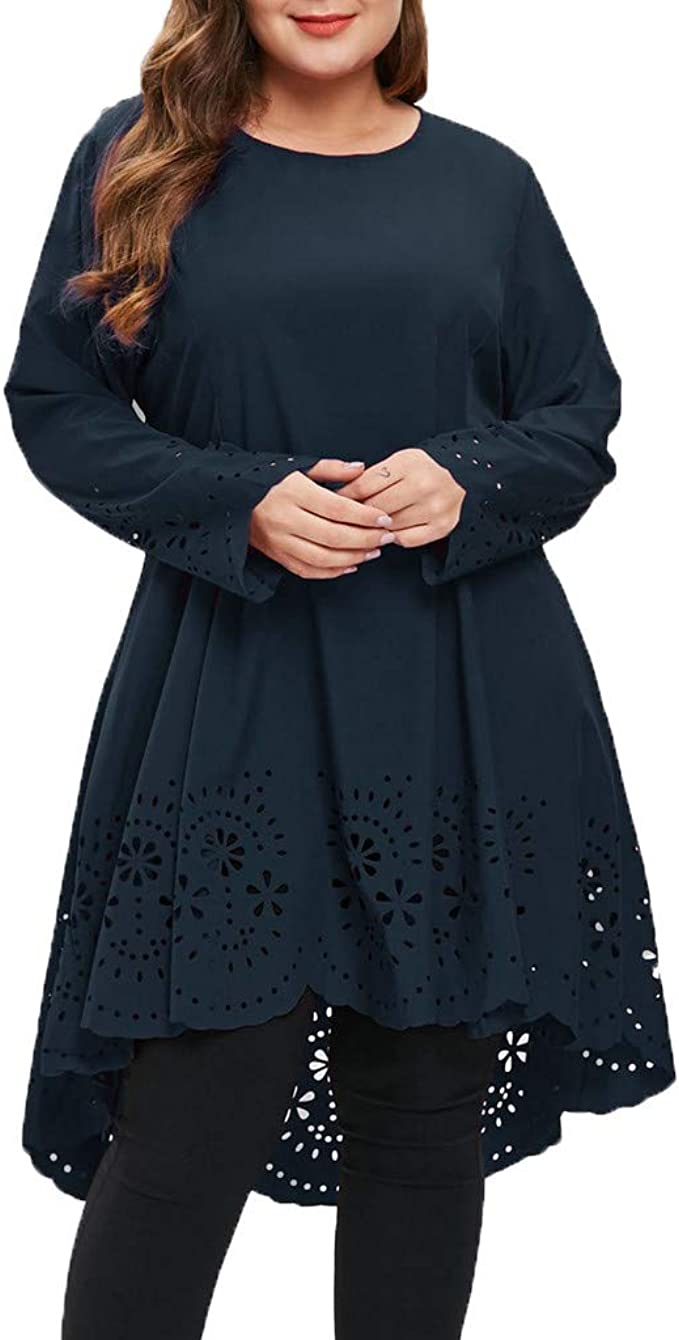 Battnot Damen Kleider Grosse Grössen Elegant Spitze Mini Abendkleid, Frauen  Oversize Sexy Rundhals Langarm Durchbrochene Muster Festlich Hochzeit ...