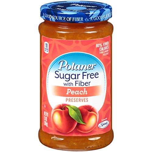 Polaner Sugar Free with Fiber, Peach Jam, 13 Ounce