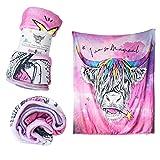 NINE ROYAL Uniquely You - Cute Inspirational Kids Blanket Fleece Blankets for Girls Kids Throw Blanket Unicorn Cow Blanket Great Girls Gift