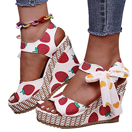 Minetom Sandalias para Mujer Sandalias Romanas De Tacón De Cuña Plataforma con Estampado De Frutas Tacones Altos Punta Abierta Zapatos De Verano A Fresa 35 EU