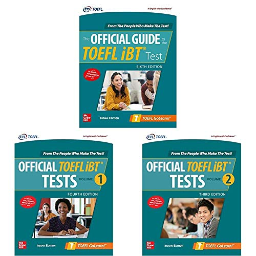 McGraw Hill's TOEFL Preparation Combo - Official Guide, iBT Tests Volumes 1 & 2 (Set Of 3 Books)   Latest Editions