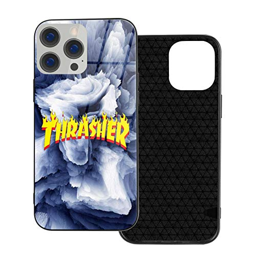 Thra-sher Wallpaper Logo Tempered Glass Back Cover with TPU Frame Scratch-Resistant Soft Bumper Shock Absorption Protective Case for iPhone 12 Pro Max Mini