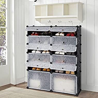 LANGRIA 12-Cube DIY Shoe Rack Modular Organizer Plastic Cabinet by 6 tier Shelving Bookcase Cabinet Closet Black (12 - Regular Cube)