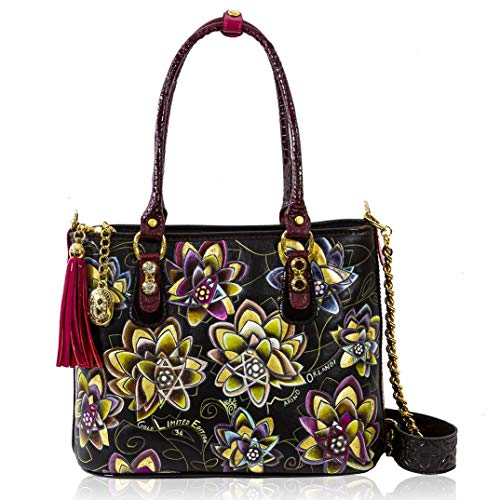 Marino Orlandi Women's Medium Handbag Italian Designer Crossbody Bag Purse Handpainted Black Genuine Leather and Interecciato Two Sided Top Handle Satchel in Floral Design with Swarovski