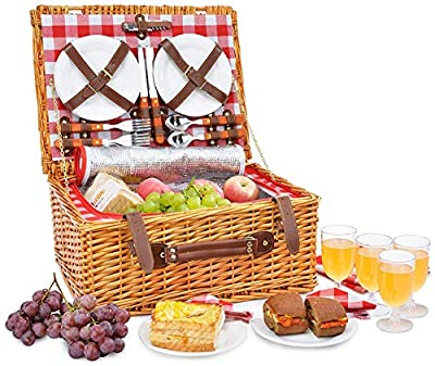 Picnic Basket Set for 4 Person   Insulated Red Picnic Hamper Set   Picnic Table Set   Picnic Plates   Picnic Supplies   Summer Picnic Kit   Picnic Utensils Cutlery Flatware